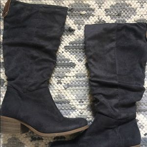 Charlotte Russe gray suede boots